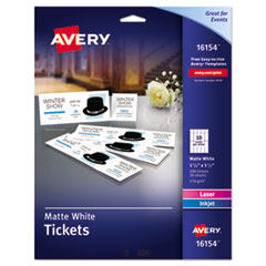 Avery® Printable Tickets w/Tear-Away Stubs, 8 1/2 x 11, White, 10/Sheet, 20Sheets/Pack