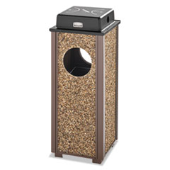 Rubbermaid® Commercial Aspen Ash/Trash Weather Urn, 2.5 gal, Brown w/Brown Trim