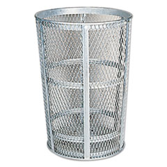 "Rubbermaid® Commercial Street Basket Waste Receptacle, 23"" Diameter, 45 gal, Silver"