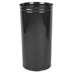 "Rubbermaid® Commercial Open Top Steel Wastebasket, 80 qt, 16"" dia x 29"" H, Black, 3/Carton"