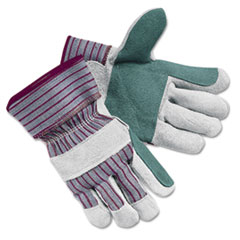 MCR™ Safety Economy Leather Palm Gloves, X-Large, Striped, Pair