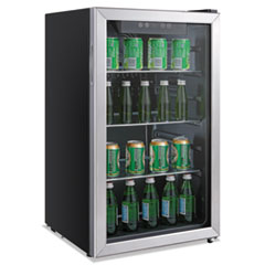 Alera™ 3.4 Cu. Ft. Beverage Cooler, Stainless Steel/Black