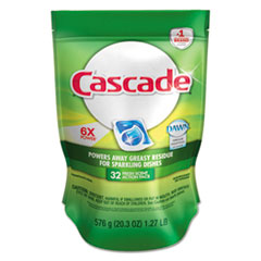 Cascade® ActionPacs, Fresh Scent, Blue, 20.3 oz Reclosable Bag, 32/Bag, 5 Bag/Carton