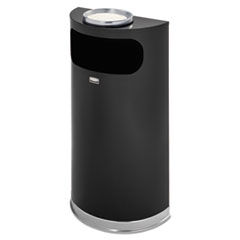 Rubbermaid® Commercial Half-Round Ash/Trash Waste Receptacle, 9 gal, Black w/Chrome Trim, Steel