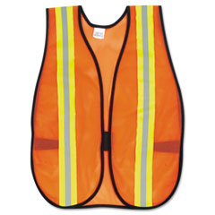 MCR™ Safety Orange Safety Vest, 2 in. Reflective Strips, Polyester, Side Straps, One Size