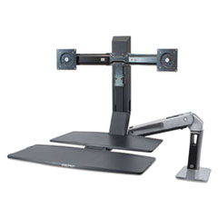 """WorkFit™ by Ergotron® WorkFit-A Sit-Stand Workstation with Worksurface+, Dual 24"""" LCDs, Polished Aluminum/Black"""