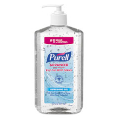 PURELL® Advanced Refreshing Gel Hand Sanitizer, Clean Scent, 20 oz Pump Bottle, 12/Carton