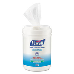 PURELL® Hand Sanitizing Wipes Alcohol Formula, 6 x 7, White, 175/Canister, 6 Cans/Carton