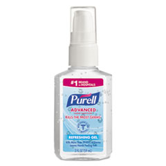 PURELL® Advanced Refreshing Gel Hand Sanitizer, Clean Scent, 2 oz Personal Pump Bottle, 24/Carton