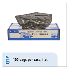 "Stout® by Envision™ Total Recycled Content Plastic Trash Bags, 30 gal, 1.3 mil, 30"" x 39"", Brown/Black, 100/Carton"
