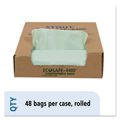 "Stout® by Envision™ EcoSafe-6400 Bags, 30 gal, 1.1 mil, 30"" x 39"", Green, 48/Box"