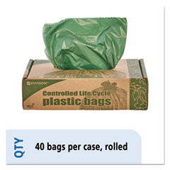 """Stout® by Envision™ Controlled Life-Cycle Plastic Trash Bags, 33 gal, 1.1 mil, 33"""" x 40"""", Green, 40/Box"""
