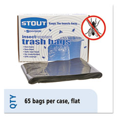 "Insect-Repellent Trash Bags, 55 gal, 2 mil, 37"" x 52"", Black, 65/Box"