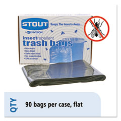 "Stout® by Envision™ Insect-Repellent Trash Bags, 30 gal, 2 mil, 33"" x 40"", Black, 90/Box"