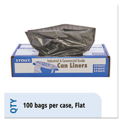 """Stout® by Envision™ Total Recycled Content Plastic Trash Bags, 33 gal, 1.5 mil, 33"""" x 40"""", Brown/Black, 100/Carton"""