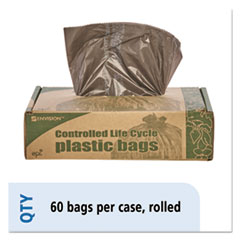 "Stout® by Envision™ Controlled Life-Cycle Plastic Trash Bags, 30 gal, 0.8 mil, 30"" x 36"", Brown, 60/Box"