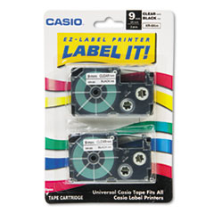 """Tape Cassettes for KL Label Makers, 0.37"""" x 26 ft, Black on Clear, 2/Pack"""