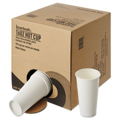 Boardwalk® Convenience Pack Paper Hot Cups, 16 oz, White, 9 Cups/Sleeve, 20 Sleeves/Carton