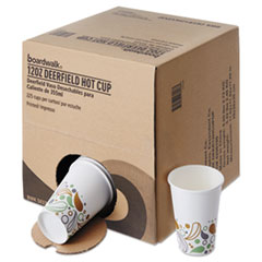 Boardwalk® Convenience Pack Paper Hot Cups, 12 oz, Deerfield Print, 9 Cups/Sleeve, 25 Sleeves/Carton