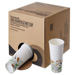 Boardwalk® Convenience Pack Paper Hot Cups, 20 oz, Deerfield Print, 9 Cups/Sleeve, 15 Sleeves/Carton