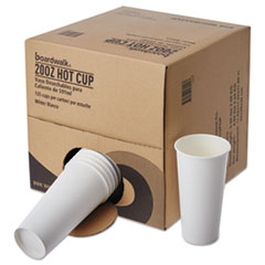 Boardwalk® Convenience Pack Paper Hot Cups, 20 oz, White, 9 Cups/Sleeve, 15 Sleeves/Carton