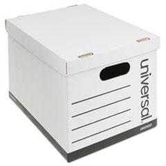 """Basic-Duty Economy Record Storage Boxes, Letter/Legal Files, 12"""" x 15"""" x 10"""", White, 10/Carton"""