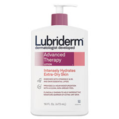 Lubriderm® Advanced Therapy Moisturizing Hand/Body Lotion, 16 oz Pump Bottle, 12/Carton