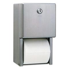 Bobrick Stainless Steel 2-Roll Tissue Dispenser, 6 1/16 x 5 15/16 x 11, Stainless Steel
