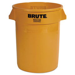 Rubbermaid® Commercial Round Brute Container, Plastic, 32 gal, Yellow