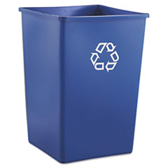 Rubbermaid® Commercial Recycling Container, Square, Plastic, 35 gal, Blue