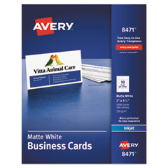 Avery® Printable Microperforated Business Cards with Sure Feed Technology, Inkjet, 2 x 3.5, White, Matte, 1000/Box