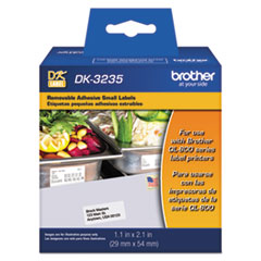 """Brother Die-Cut Removable Paper Labels, 1.1"""" x 2.1"""", White, 800/Roll"""
