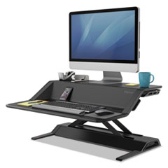 Lotus Sit-Stand Workstation, 32 3/4 x 24 1/4 x 5 1/2 to 22 1/2, Black
