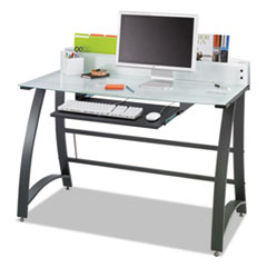 """Safco® Xpressions 47"""" Computer Desk, 47"""" x 23"""" x 37"""", Frosted/Black"""