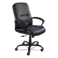 Safco® Serenity Big and Tall High Back Leather Chair, Supports up to 500 lbs., Black Seat/Black Back, Black Base