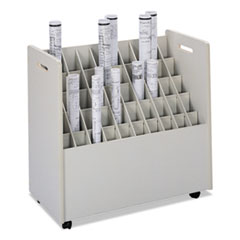 Laminate Mobile Roll Files, 50 Compartments, 30.25w x 15.75d x 29.25h, Putty