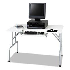 Safco® Folding Computer Table, Rectangular, 47 1/2w x 29 3/4d x 28 3/4h, Light Gray