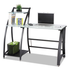 """Safco® Xpressions 53 1/4"""" Computer Desk, 53.25"""" x 23.25"""" x 45"""", Frosted/Black"""