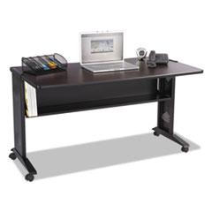 Safco® Mobile Computer Desk with Reversible Top, 53.5w x 28d x 30h, Mahogany/Medium Oak/Black