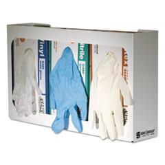 White Enamel Disposable Glove Dispenser, Three-Box, 18w x 3 3/4d x 10h