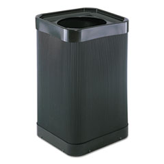 Safco® At-Your Disposal Top-Open Waste Receptacle, Square, Polyethylene, 38 gal, Black