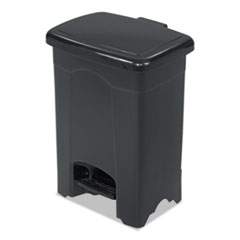 Safco® Step-On Receptacle, Rectangular, Plastic, 4 gal, Black