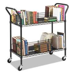 Safco® Wire Book Cart, Steel, Four-Shelf, 44w x 18-3/4d x 40-1/4h, Black