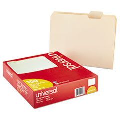 UNV12115 - File Folders, 1/5 Cut Assorted, One-Ply Top Tab, Letter, Manila, 100/Box