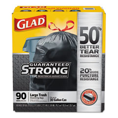 "Drawstring Large Trash Bags, 30 gal, 1.05 mil, 30"" x 33"", Black, 90/Carton"