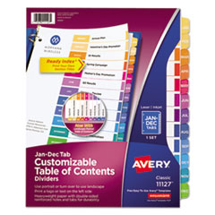 Avery® Ready Index Customizable Table of Contents Multicolor Dividers, 12-Tab, Letter