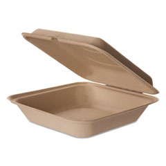 Eco-Products® Wheat Straw Hinged Clamshell Containers, 9 x 9 x 3, 200/Carton
