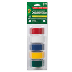 """Duck® Electrical Tape, 3/4"""" x 12 ft, 1"""" Core, Assorted, 5/Pack"""