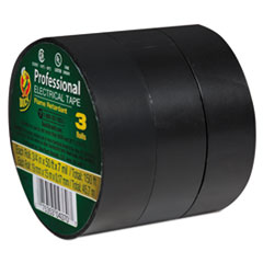 """Duck® Pro Electrical Tape, 3/4"""" x 50 ft, 1"""" Core, Black, 3/Pack"""