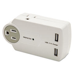 Innovera® Travel Charger/Surge Protector with USB Ports, 3; 2 USB, 612 Joules, White